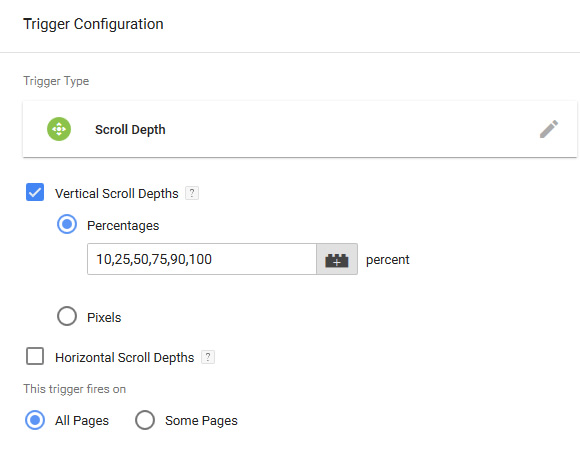 Setting up scroll depth tracking in Google Tag Manager