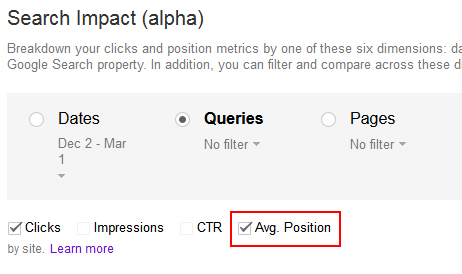 Adding The Average Position Metric In The Search Impact Reporting