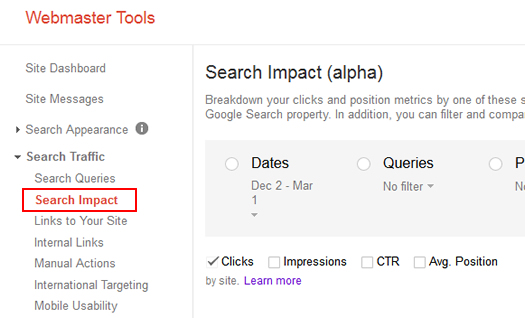 Accessing The Search Impact Reporting in Google Webmaster Tools