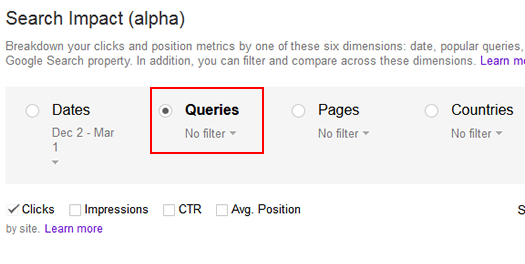 Using The Queries Dimension In The Search Impact Reporting