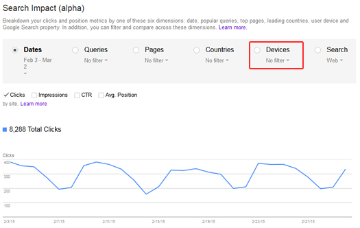 Search Impact Reporting in Google Webmaster Tools