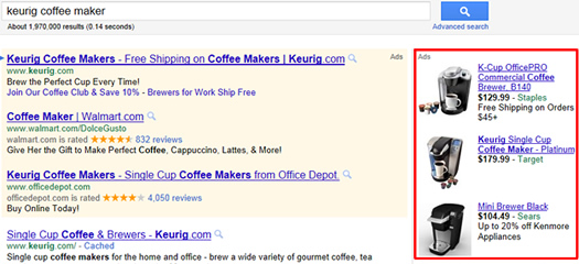 Example of Product Listing Ads in AdWords
