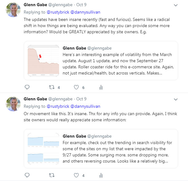 Glenn's tweet to Danny about the 9/27 algorithm update.