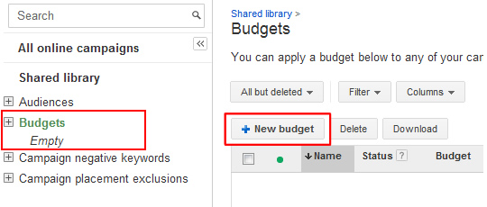 Shared Budget Link in Shared Library Menu
