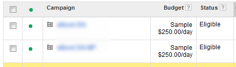 Shared Budget in Action in AdWords UI
