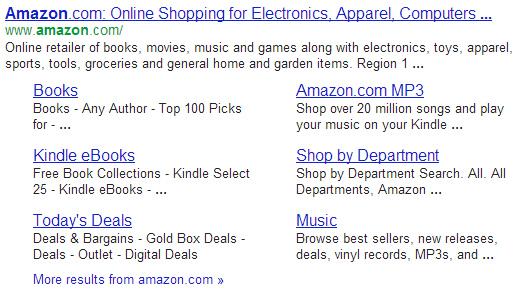 Sitelinks for Amazon.com