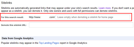 Enter search result when demoting sitelinks.