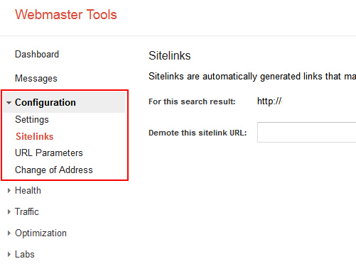 How to access sitelinks in Google Webmaster Tools