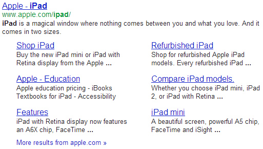 Sitelinks for Apple iPad