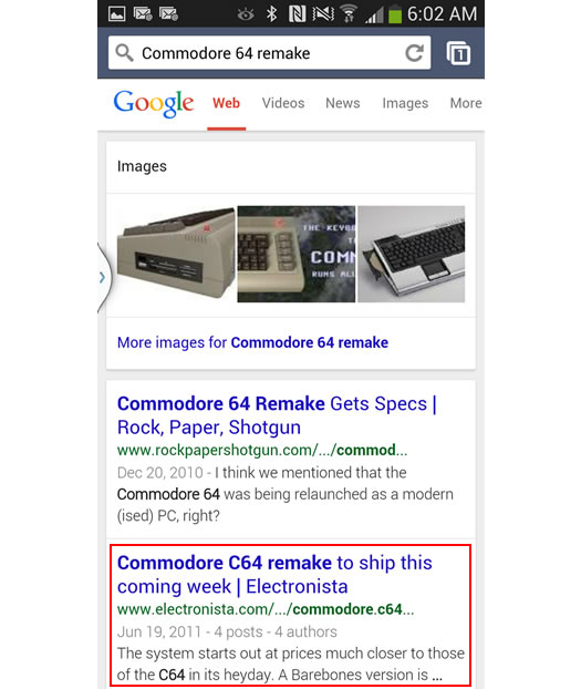Mobile Search for Commodore 64 Remake Review on Google