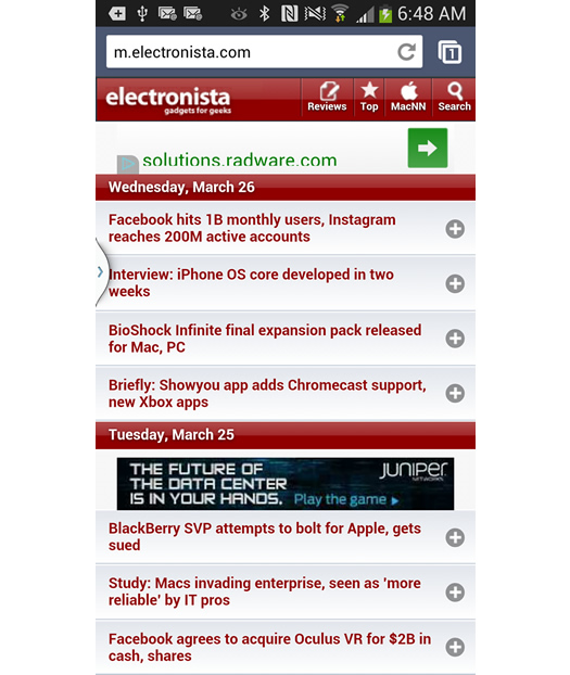 Redirect to Mobile Homepage on Electronista.com