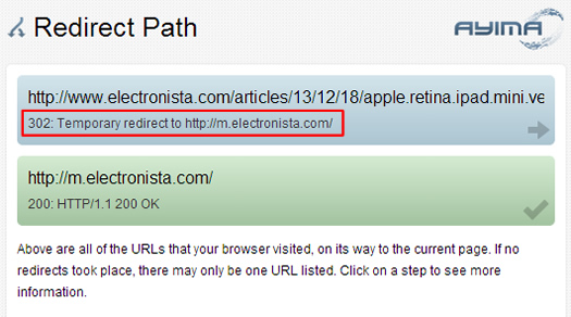302 Redirect to Mobile Homepage on Electronista.com