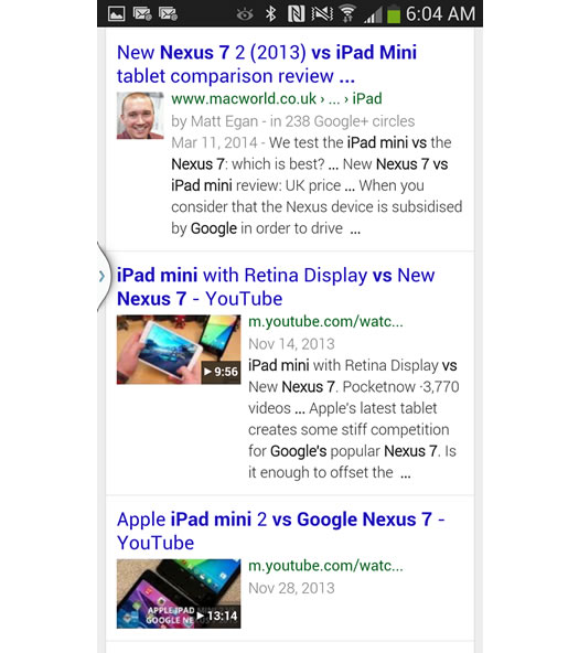 Mobile Search for Google Nexus 7 Versus iPad Mini on Google