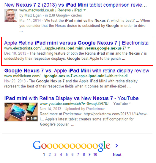Desktop Search for Google Nexus 7 Versus iPad Mini on Google