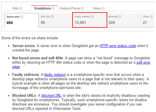 Smartphone Crawl Errors Reporting in Google Webmaster Tools