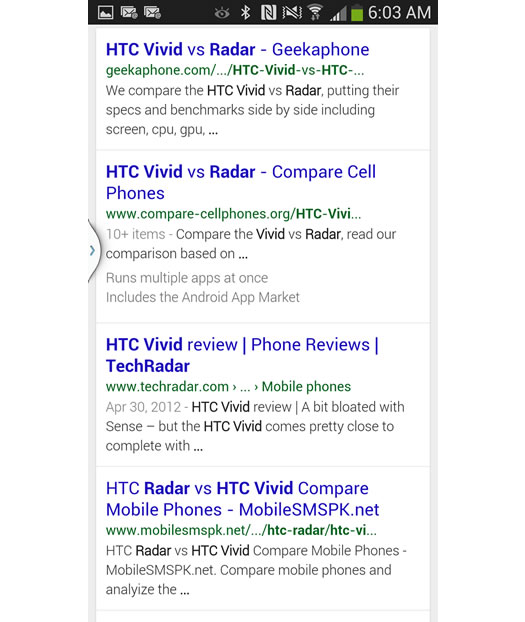Mobile Search for HTC Vivid Radar on Google
