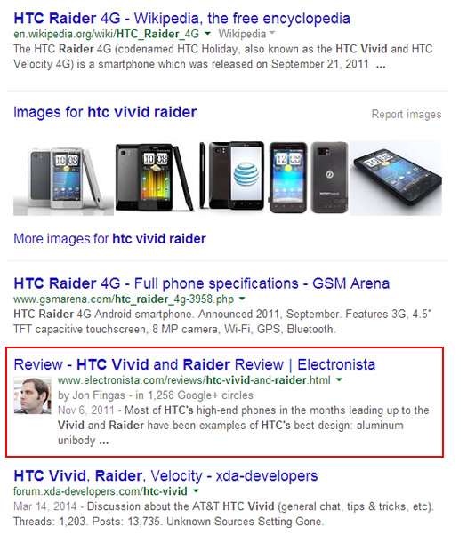 Desktop Search for HTC Vivid Radar on Google