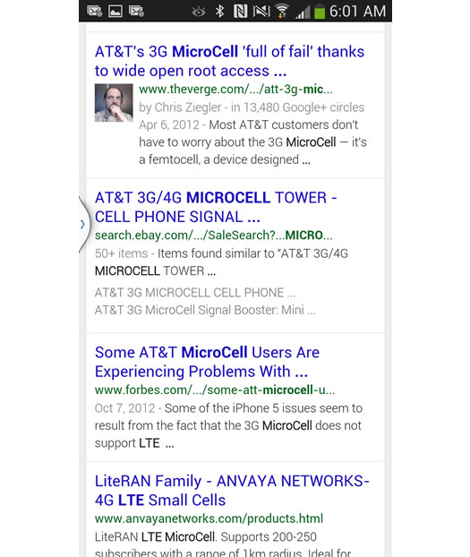 Mobile Search for LTE Microcell on Google