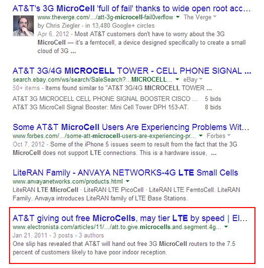 Desktop Search for LTE Microcell on Google
