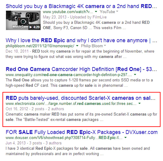 Desktop Search for Red Camera on Google