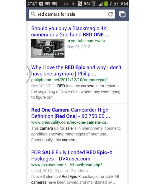 Mobile Search for Red Camera on Sale on Google