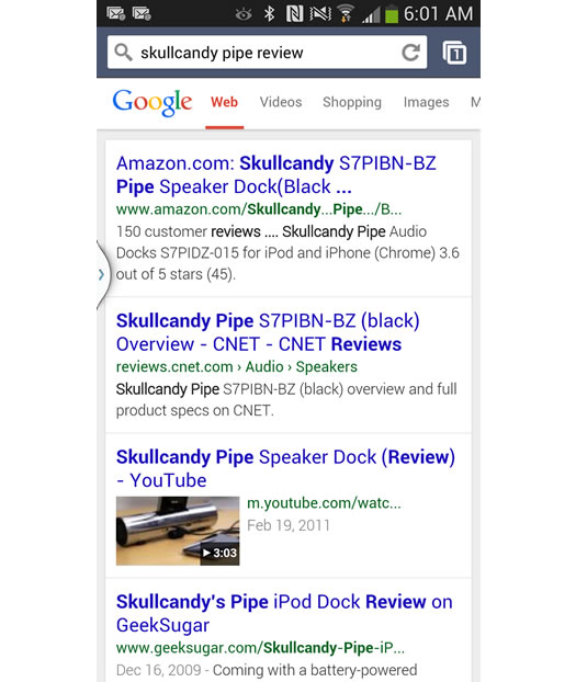 Mobile Search for Skullcandy Pipe Review on Google