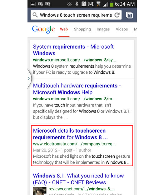 Mobile Search for Windows 8 Touch Screen Requirements on Google