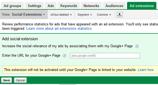 Adding Social Extensions in AdWords