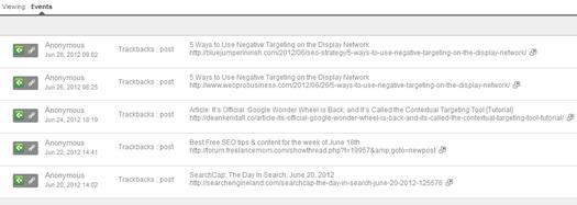 Viewing trackbacks in social reports