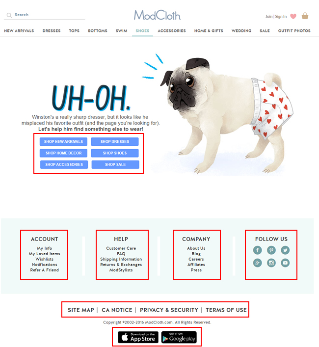 Example of a solid 404 page from modcloth.com
