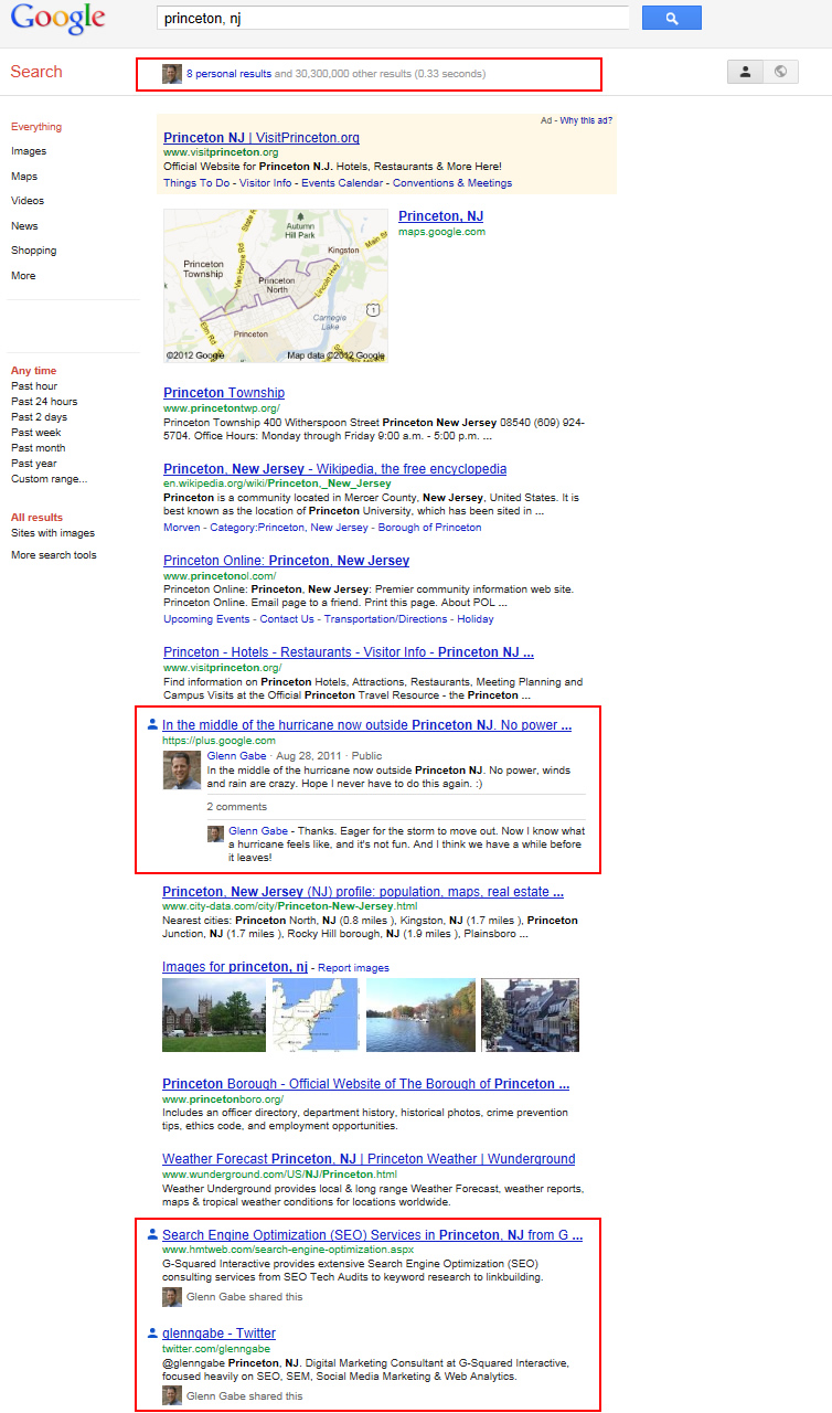 Search Plus Your World Personalized Results for Princeton, NJ