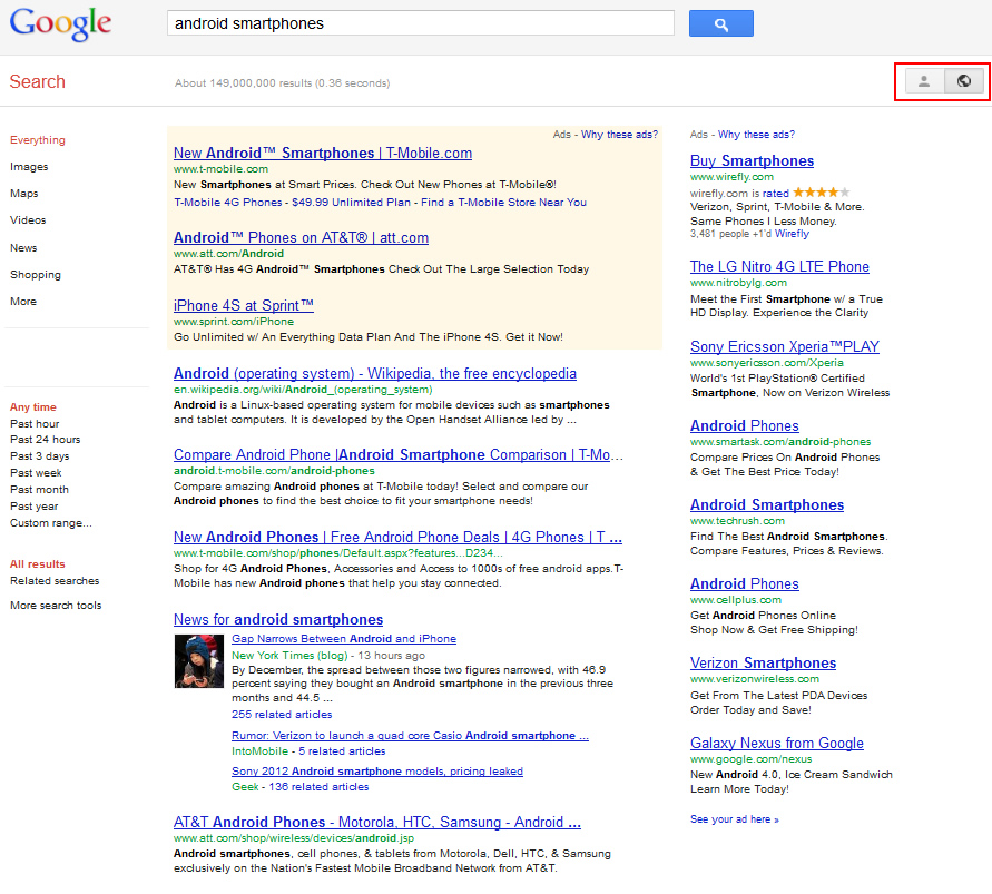 Search Plus Your World Un-Personalized Results
