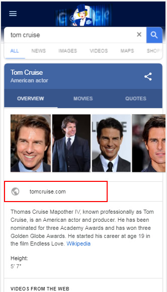 Tom Cruise on mobile devices.