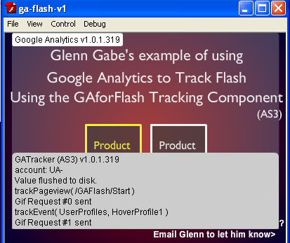 Visual debugging with the gaforflash component