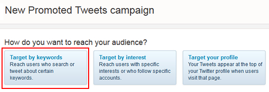 Select keyword targeting in Twitter Ads