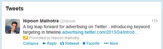 Example of Promoted Tweet