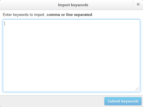 Importing keywords in Twitter Ads
