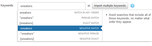 Using negatives in keyword targeted campaigns in Twitter Ads