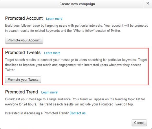 Select campaign type in Twitter Ads