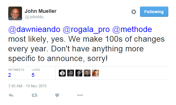 John Mueller Tweet About November 19 2015 Google Update