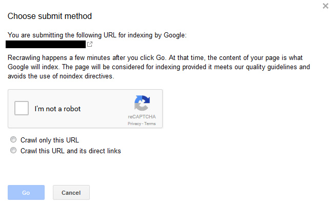Using fetch and submit in Google Search Console (GSC).