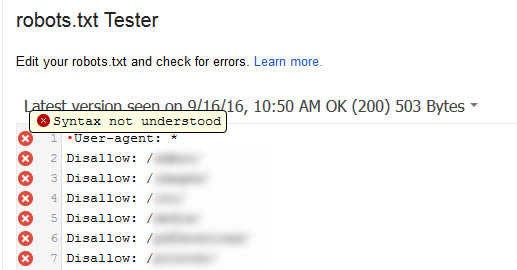 Syntax error when testing robots.txt file in GSC