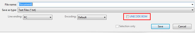 Checking for UTF-8 BOM in text editor