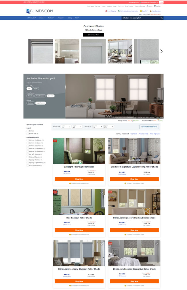 Blinds.com ecommerce category pages ranking in the video carousel.