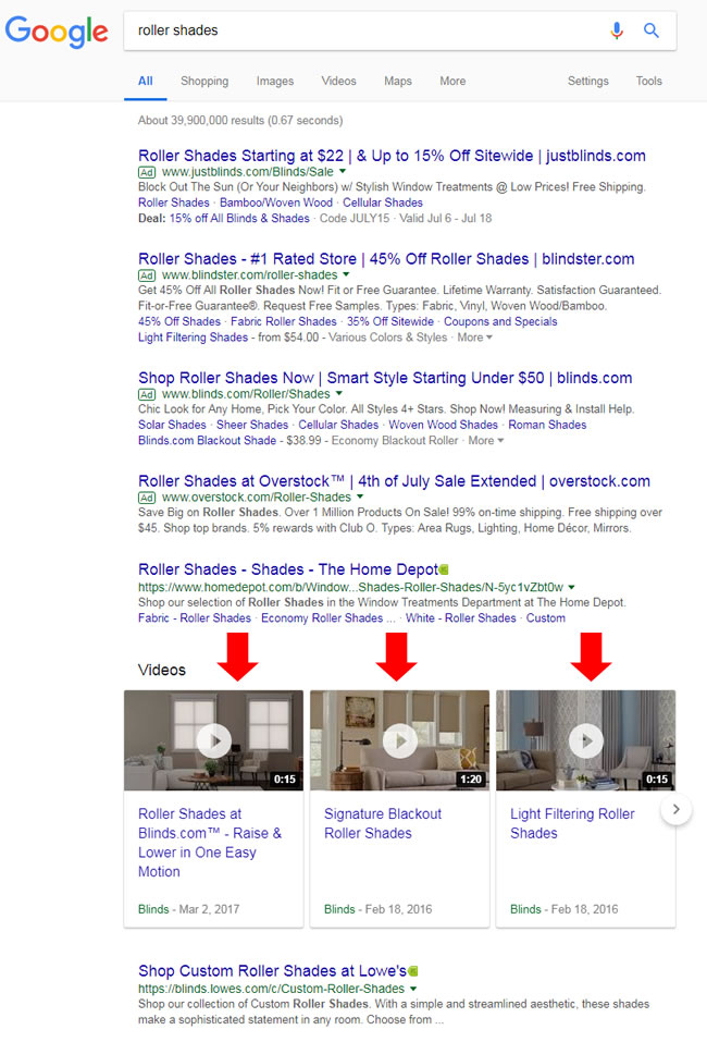 Blinds.com ranking in the video carousels.