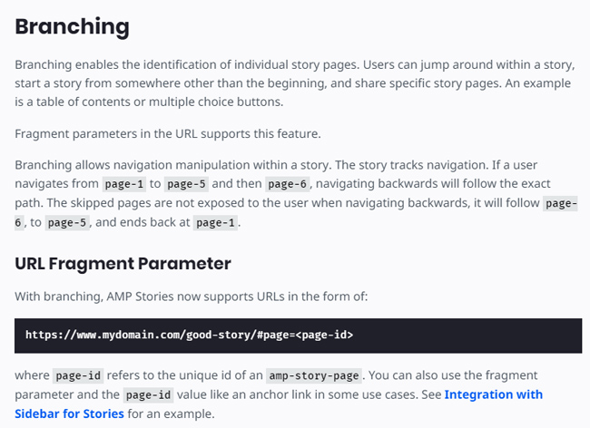 Deep linking in Web Stories.