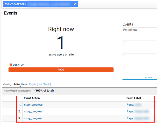Viewing real-time reporting in Google Analytics for Web Story events.