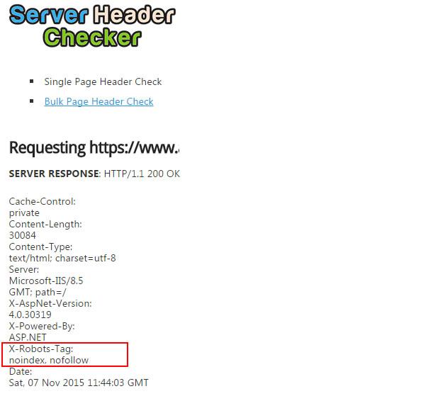 Checking the X-Robots-Tag Using SEOTools Server Header Checker